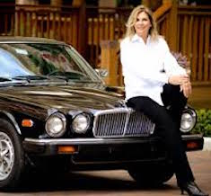 Elaine Viets with her Jaguar, Black Beauty